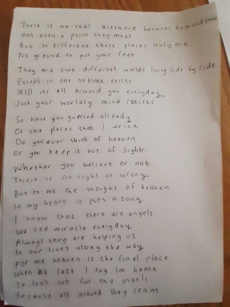 Becky's handwritten poem
